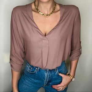 Lush mauve sheer blouse, size M urban outfitters